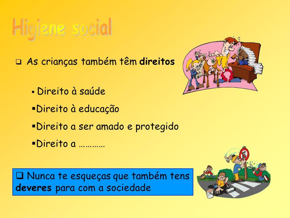 Higiene social Direito à educação Direito a ser amado e protegido