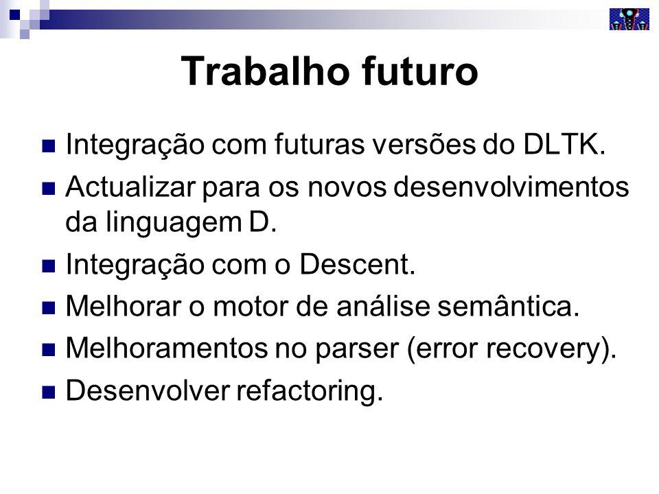 Trabalho futuro Integração com futuras versões do DLTK.