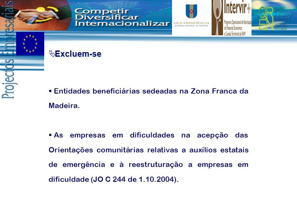 Excluem-se Entidades beneficiárias sedeadas na Zona Franca da Madeira.