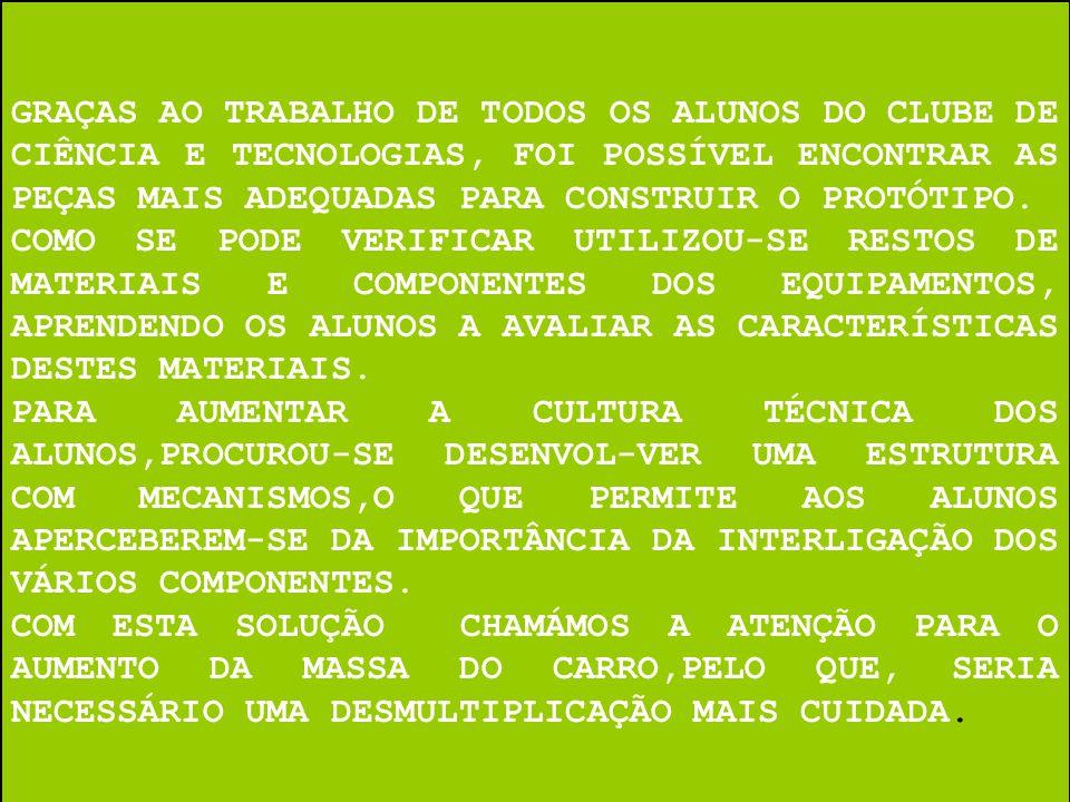 GRAÇAS AO TRABALHO DE TODOS OS ALUNOS DO CLUBE DE CIÊNCIA E TECNOLOGIAS, FOI POSSÍVEL ENCONTRAR AS PEÇAS MAIS ADEQUADAS PARA CONSTRUIR O PROTÓTIPO.