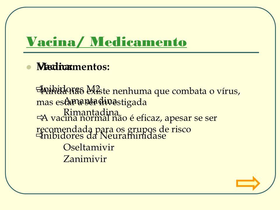 Vacina/ Medicamento Vacina: Medicamentos: Inibidores M2 Amantadina