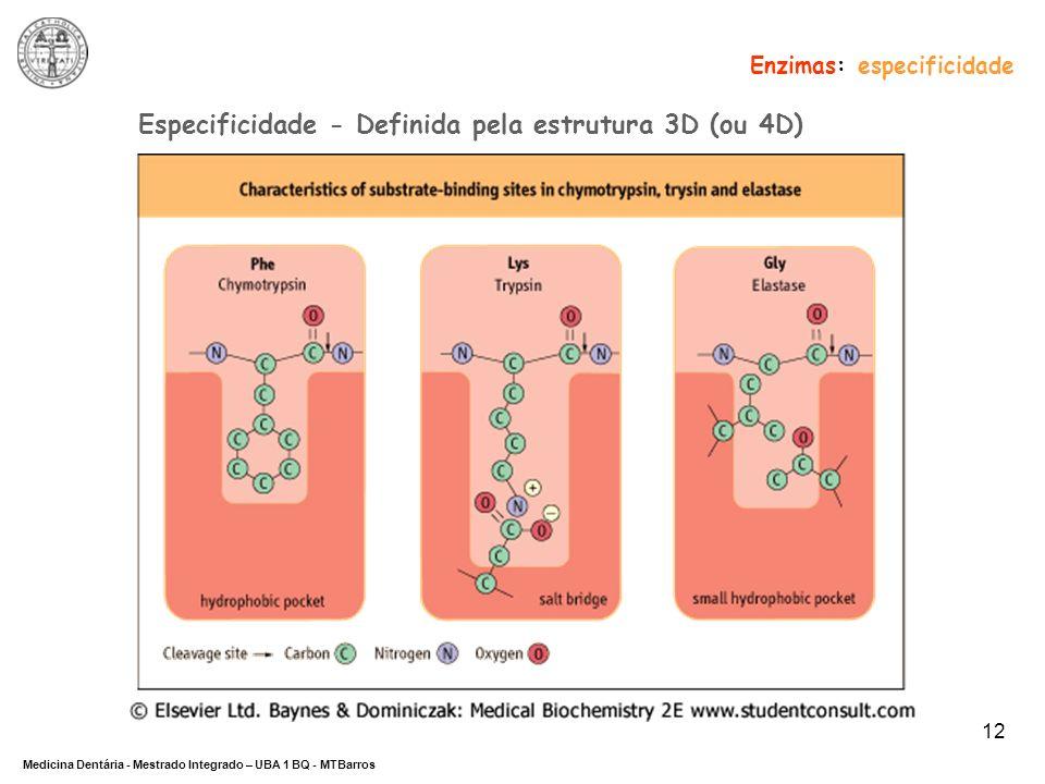 Especificidade - Definida pela estrutura 3D (ou 4D)