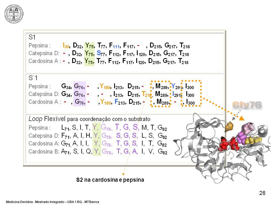 Gly76 S2 na cardosina e pepsina