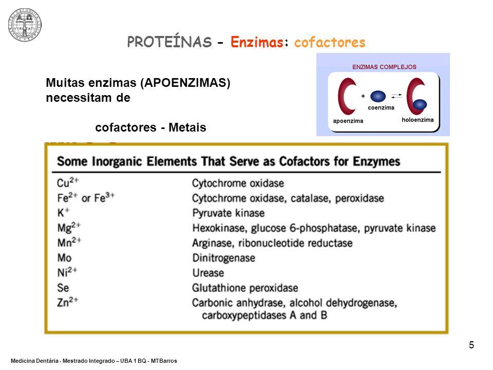 PROTEÍNAS - Enzimas: cofactores