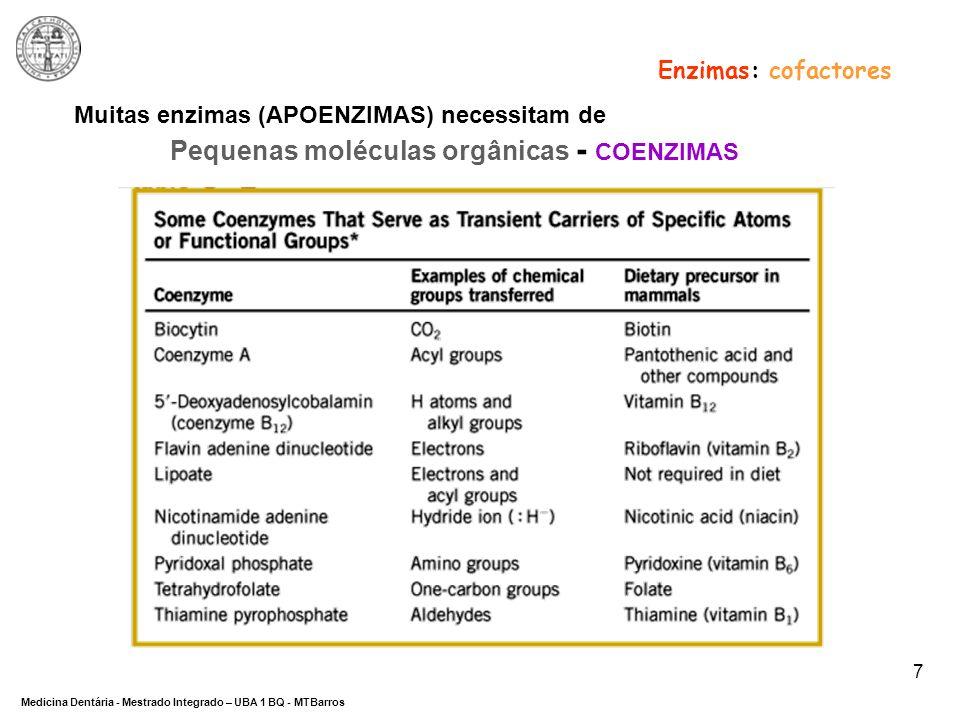 Enzimas: cofactores Muitas enzimas (APOENZIMAS) necessitam de.