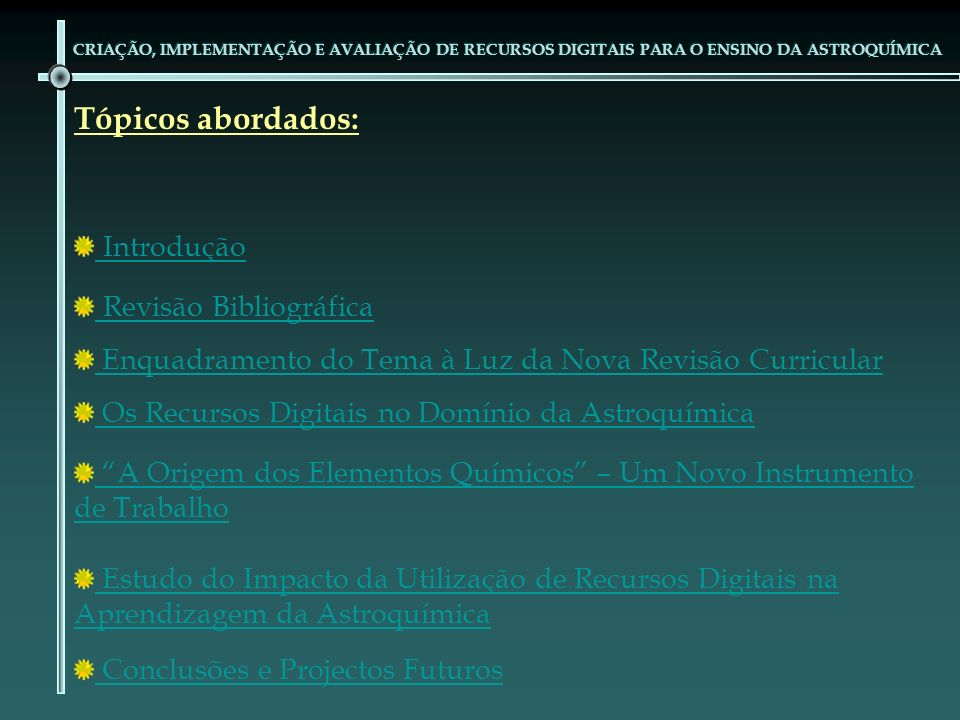 Tópicos abordados: Introdução Revisão Bibliográfica