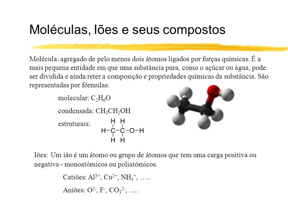 Moléculas, Iões e seus compostos