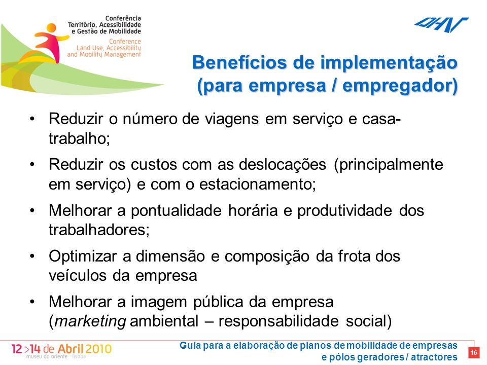 Benefícios de implementação (para empresa / empregador)