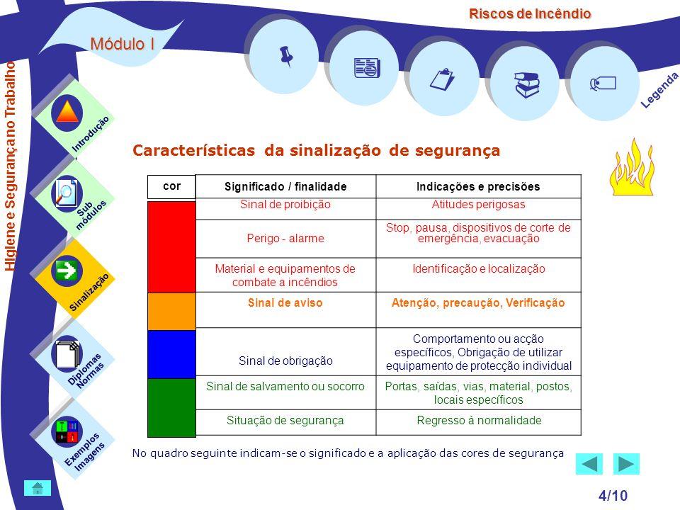     Módulo I Características da sinalização de segurança 4/10 