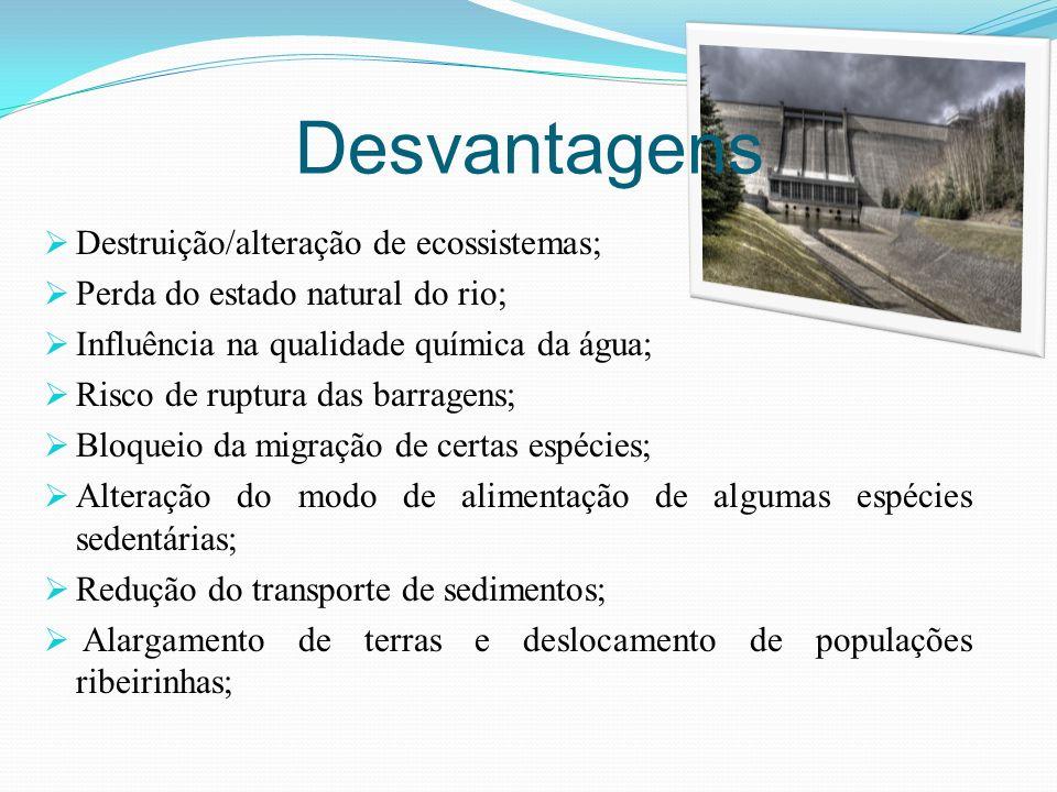 Desvantagens Destruição/alteração de ecossistemas;