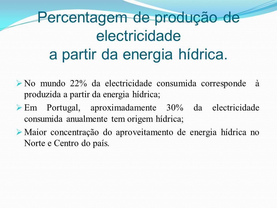Percentagem de produção de electricidade a partir da energia hídrica.
