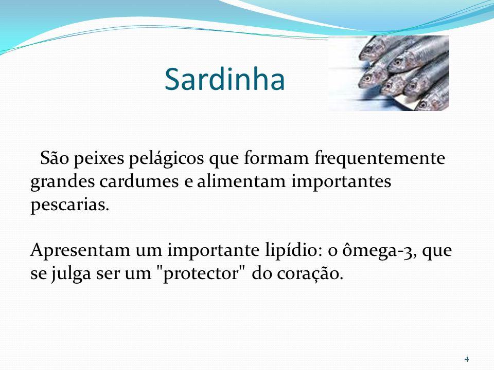 Sardinha São peixes pelágicos que formam frequentemente grandes cardumes e alimentam importantes pescarias.