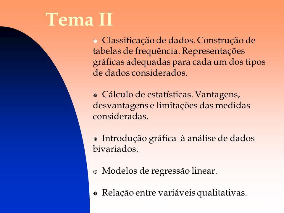 Tema II Classificação de dados. Construção de tabelas de frequência. Representações gráficas adequadas para cada um dos tipos de dados considerados.