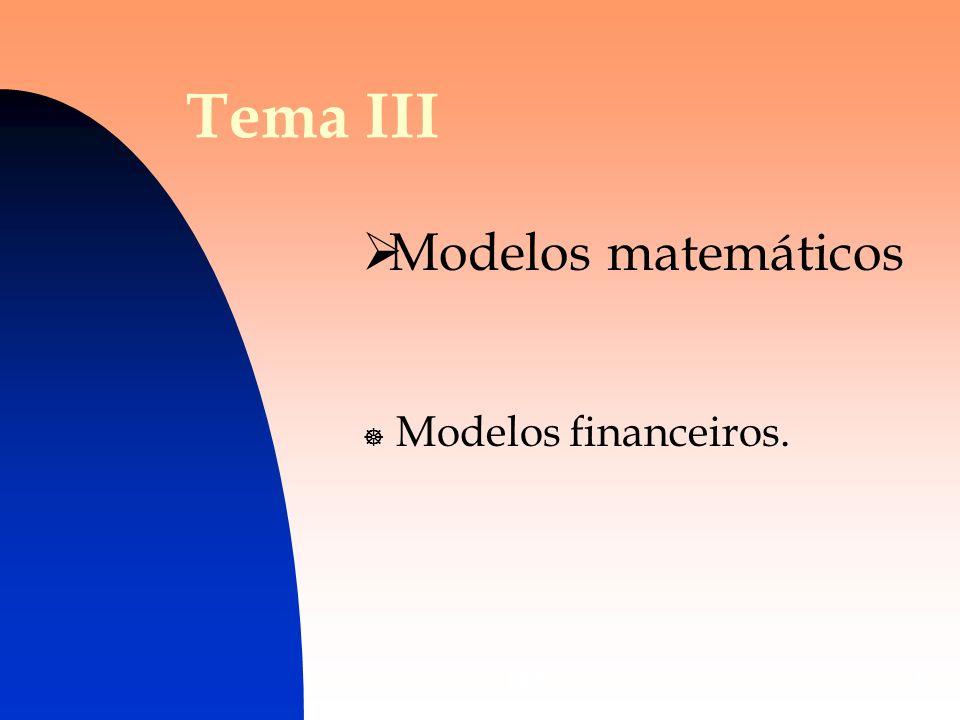 Tema III Modelos matemáticos Modelos financeiros. DES