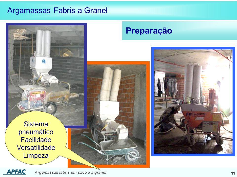 Preparação Argamassas Fabris a Granel Sistema pneumático Facilidade