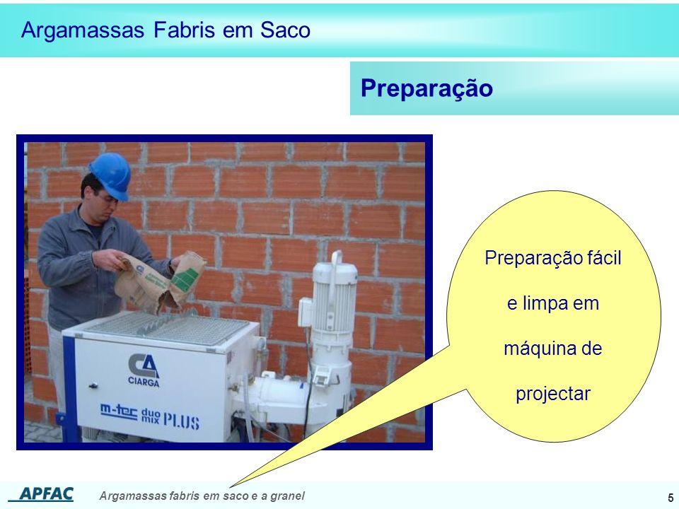 Preparação fácil e limpa em máquina de projectar