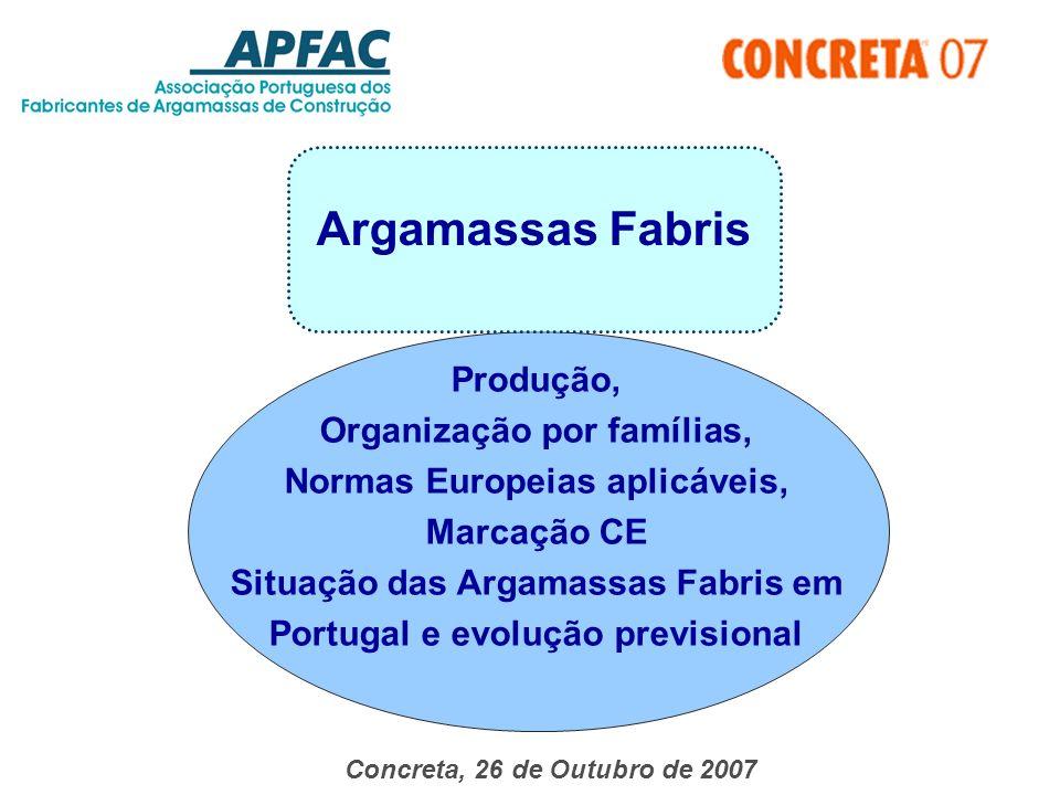 Argamassas Fabris Produção, Organização por famílias,