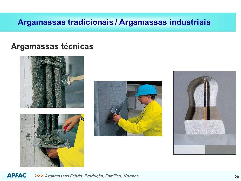 Argamassas tradicionais / Argamassas industriais