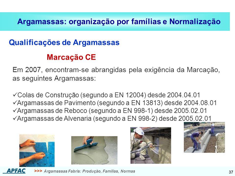 Argamassas: organização por famílias e Normalização