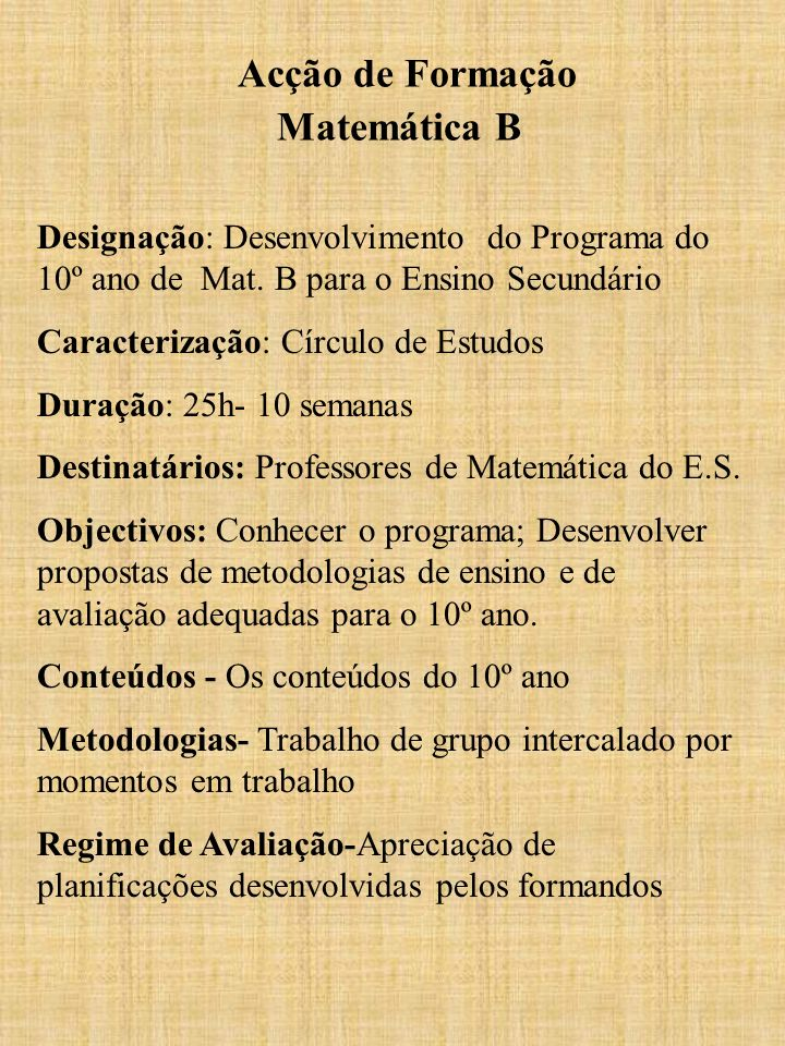 Acção de Formação Matemática B