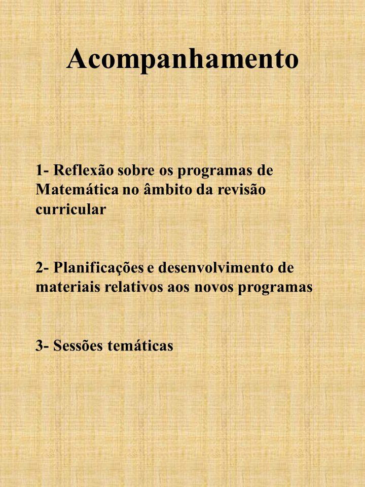 Acompanhamento 1- Reflexão sobre os programas de Matemática no âmbito da revisão curricular.