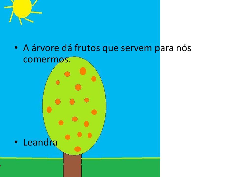 A árvore dá frutos que servem para nós comermos.