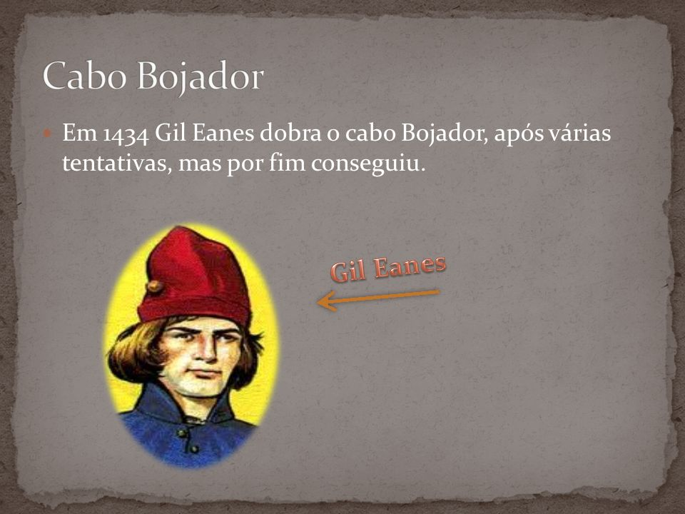 Cabo BojadorEm 1434 Gil Eanes dobra o cabo Bojador, após várias tentativas, mas por fim conseguiu.