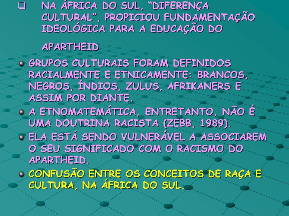 NA ÁFRICA DO SUL, DIFERENÇA CULTURAL , PROPICIOU FUNDAMENTAÇÃO IDEOLÓGICA PARA A EDUCAÇÃO DO APARTHEID