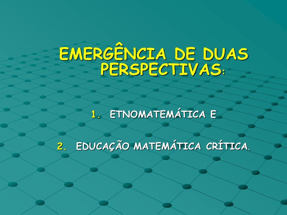 EMERGÊNCIA DE DUAS PERSPECTIVAS: