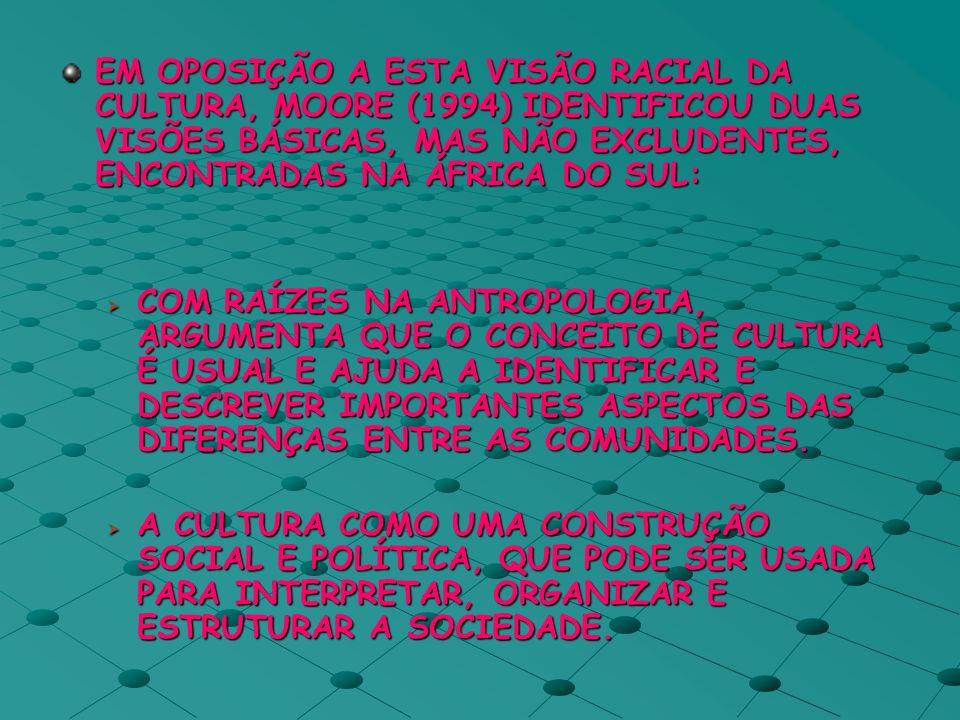 EM OPOSIÇÃO A ESTA VISÃO RACIAL DA CULTURA, MOORE (1994) IDENTIFICOU DUAS VISÕES BÁSICAS, MAS NÃO EXCLUDENTES, ENCONTRADAS NA ÁFRICA DO SUL: