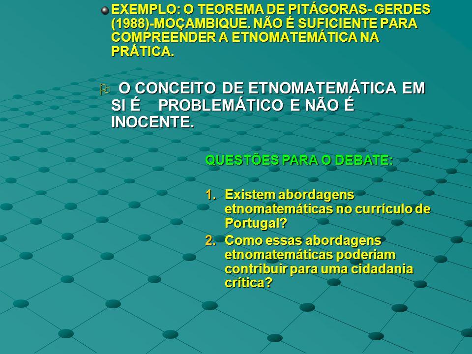 EXEMPLO: O TEOREMA DE PITÁGORAS- GERDES (1988)-MOÇAMBIQUE