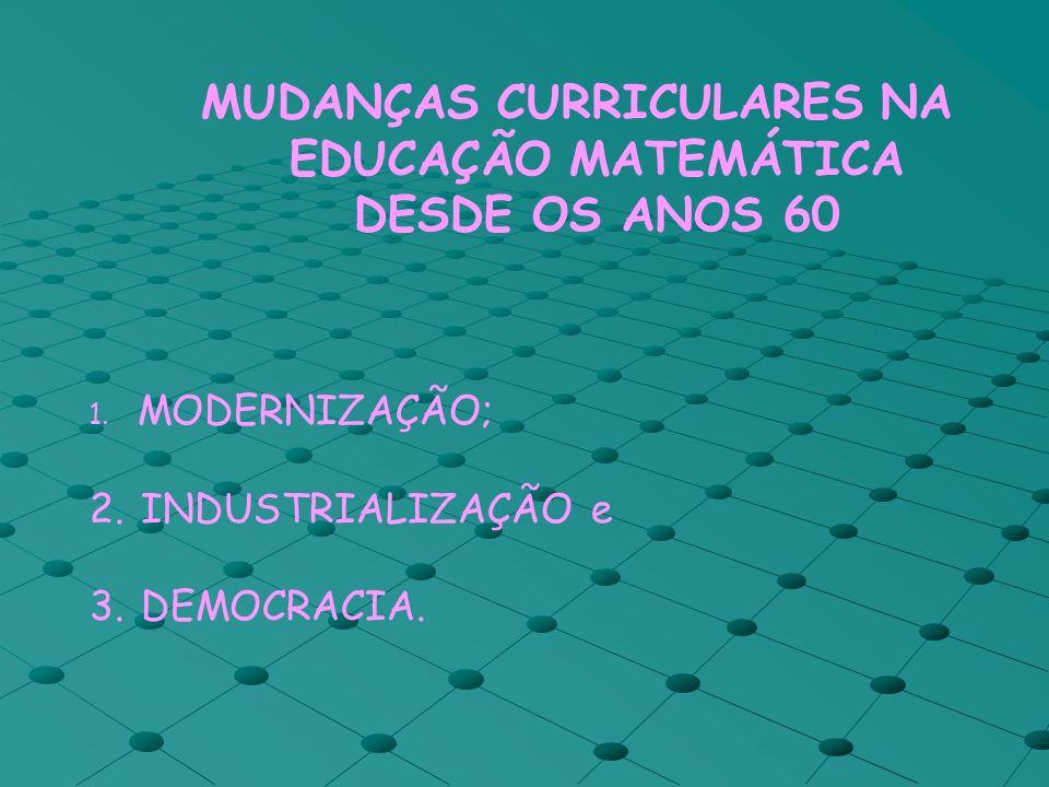 MUDANÇAS CURRICULARES NA EDUCAÇÃO MATEMÁTICA DESDE OS ANOS 60