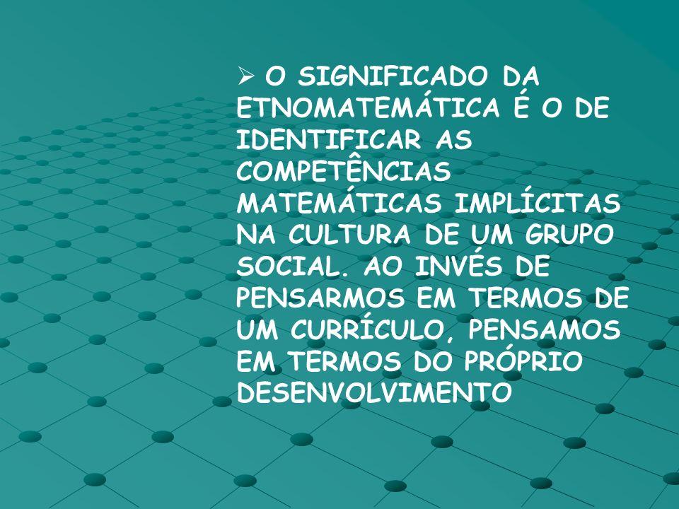 O SIGNIFICADO DA ETNOMATEMÁTICA É O DE IDENTIFICAR AS COMPETÊNCIAS MATEMÁTICAS IMPLÍCITAS NA CULTURA DE UM GRUPO SOCIAL.