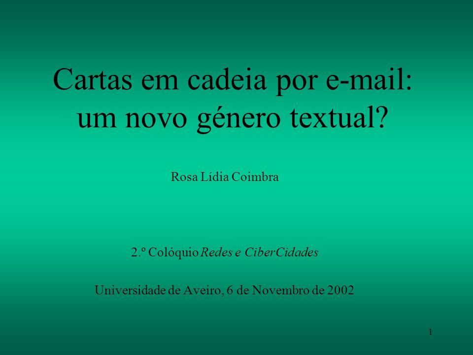Cartas em cadeia por e-mail: um novo género textual