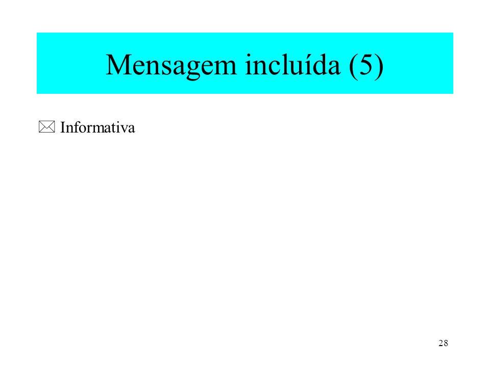 Mensagem incluída (5)  Informativa