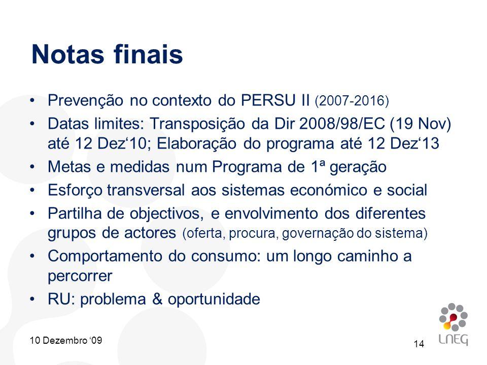 Notas finais Prevenção no contexto do PERSU II (2007-2016)