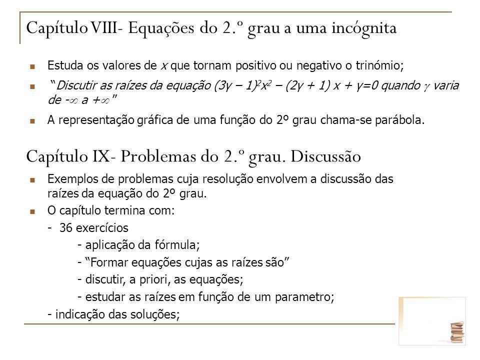 Capítulo VIII- Equações do 2.º grau a uma incógnita