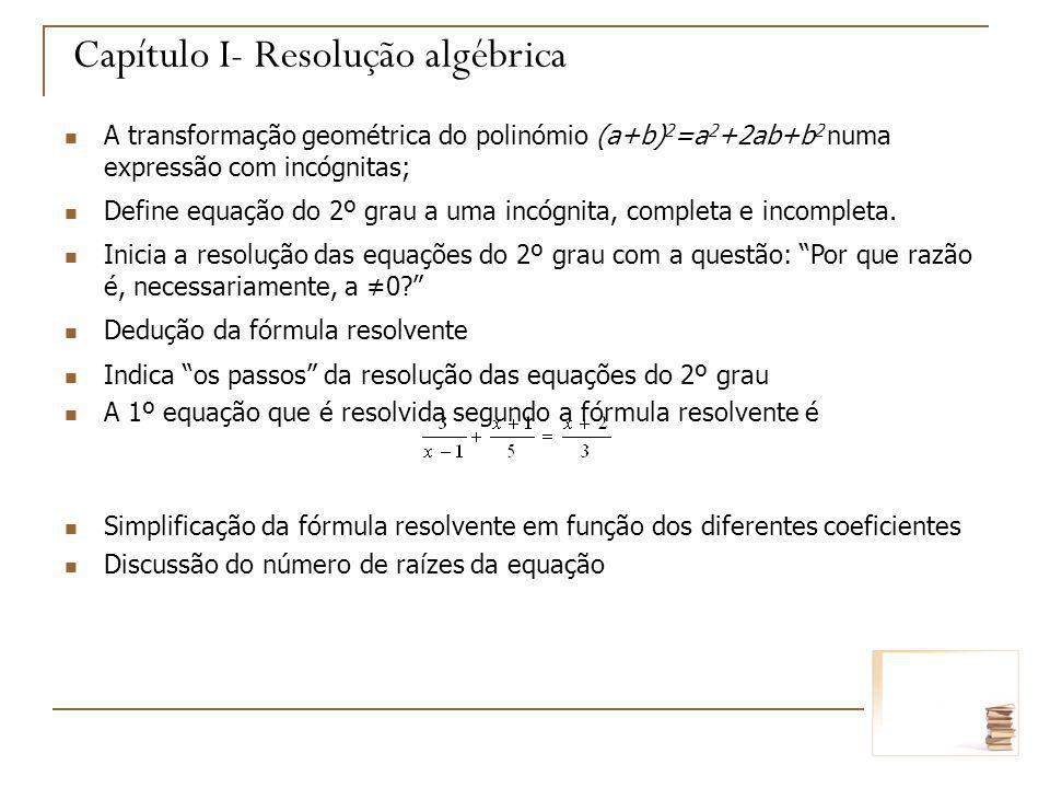 Capítulo I- Resolução algébrica