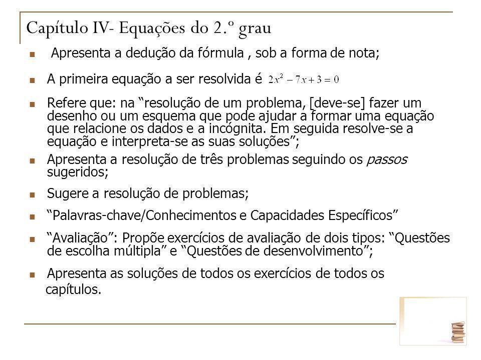 Capítulo IV- Equações do 2.º grau