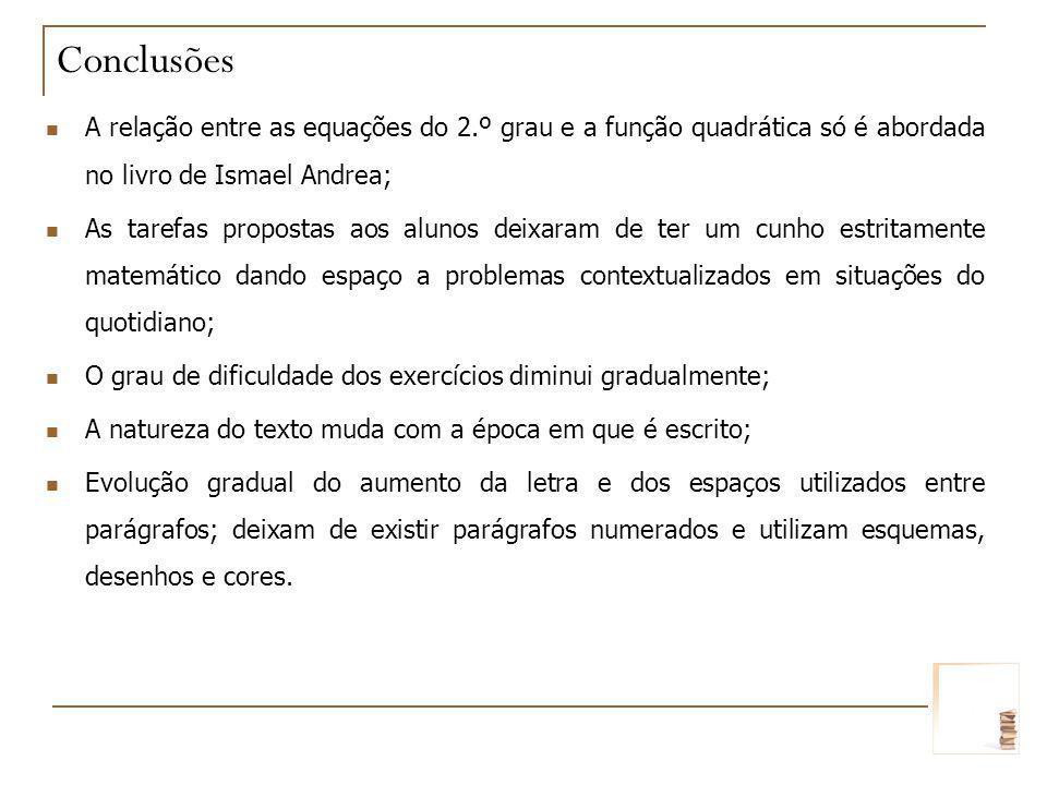 ConclusõesA relação entre as equações do 2.º grau e a função quadrática só é abordada no livro de Ismael Andrea;