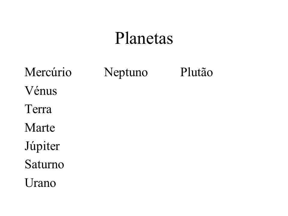 Planetas Mercúrio Neptuno Plutão Vénus Terra Marte Júpiter Saturno