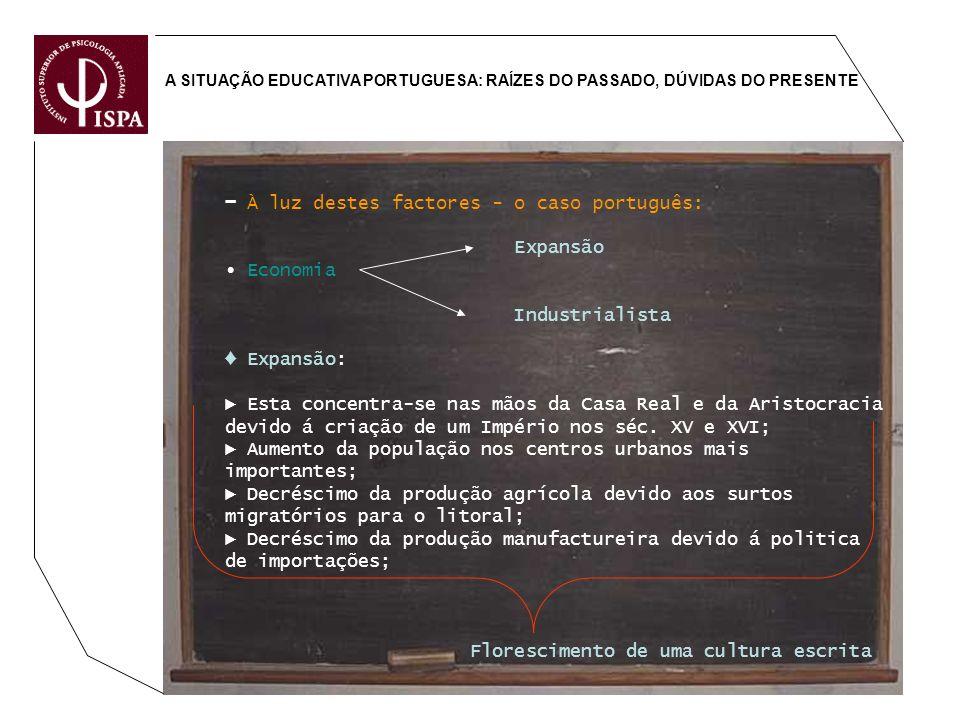 ▬ À luz destes factores - o caso português: Expansão ∙ Economia