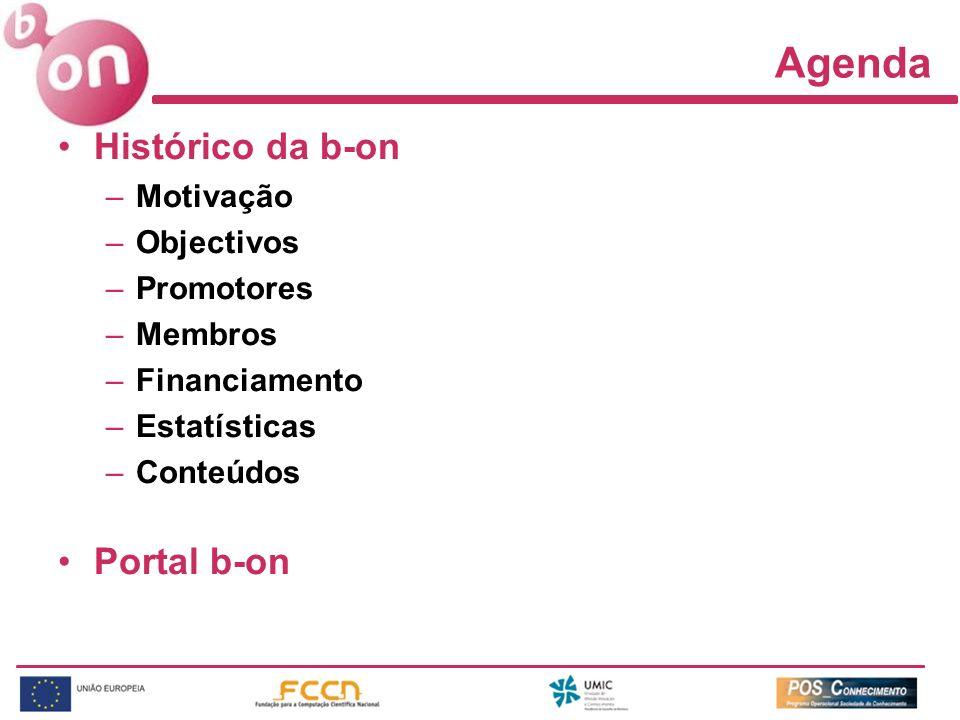 Agenda Histórico da b-on Portal b-on Motivação Objectivos Promotores