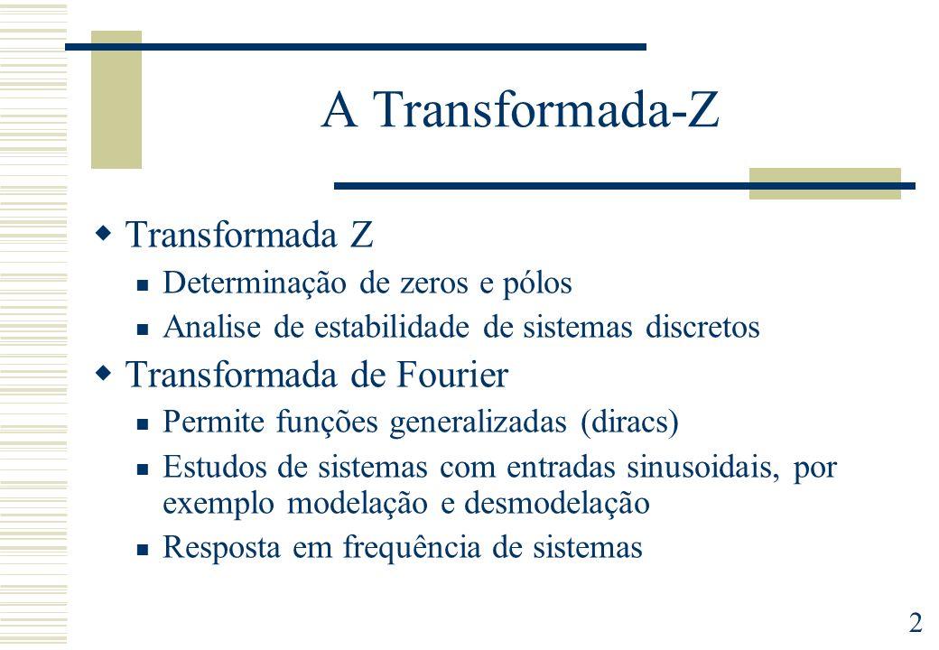 A Transformada-Z Transformada Z Transformada de Fourier