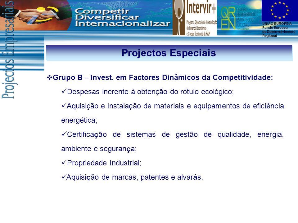 Projectos Especiais Grupo B – Invest. em Factores Dinâmicos da Competitividade: Despesas inerente à obtenção do rótulo ecológico;