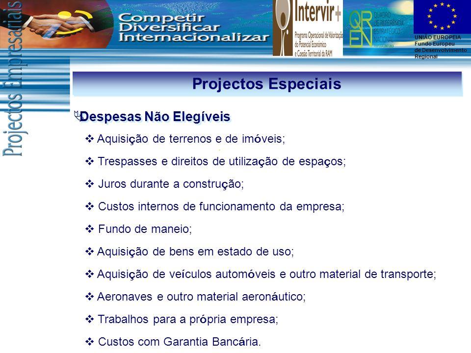 Projectos Especiais Despesas Não Elegíveis