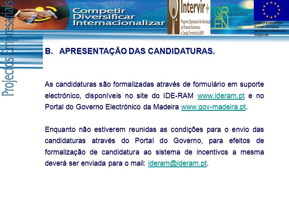 APRESENTAÇÃO DAS CANDIDATURAS.