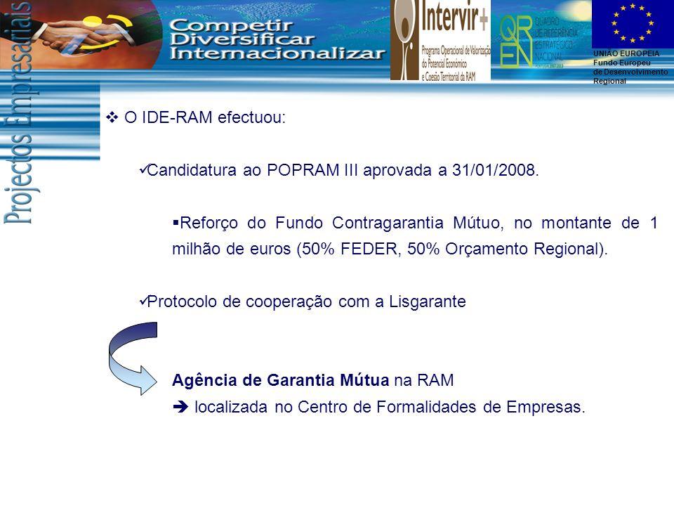 O IDE-RAM efectuou: Candidatura ao POPRAM III aprovada a 31/01/2008.