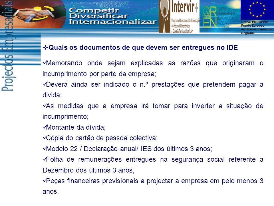 Quais os documentos de que devem ser entregues no IDE