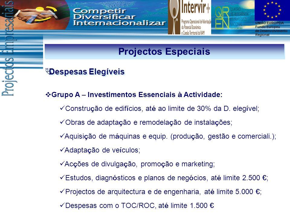 Projectos Especiais Despesas Elegíveis